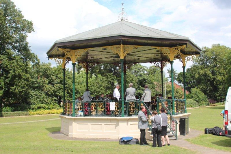Band Setting up at Eastleigh Bandstand