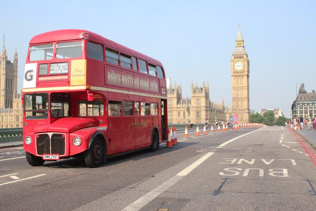 London Bus on Westminster Bridge