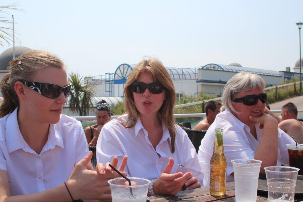 Female members of band relaxing at lunchtime