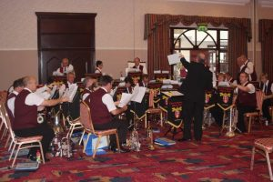 Band preparing for concert at Coventry